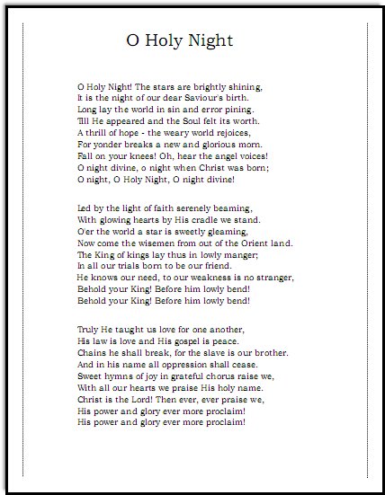 Oh Holy Night lyrics, Music-for-Music-Teachers.com - Josh Groban ...