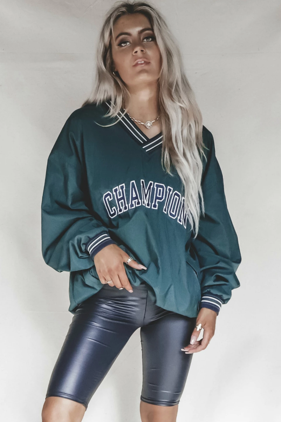 VINTAGE 90s Forest Green Champion Windbreaker XL Amazing