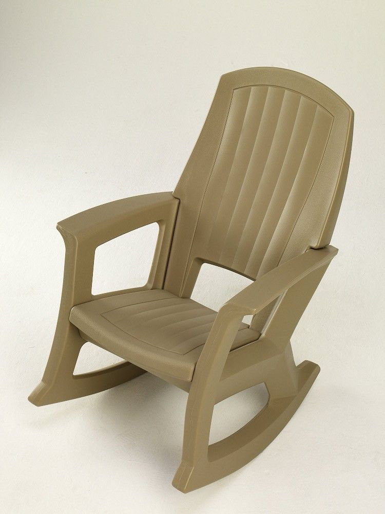 Semco Plastics Taupe Resin Outdoor Patio Rocking Chair SEMT