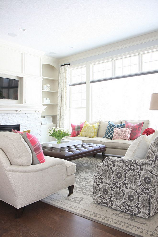 Sofa Shapes variety of colors and shapes/styles of pillows on this neutral