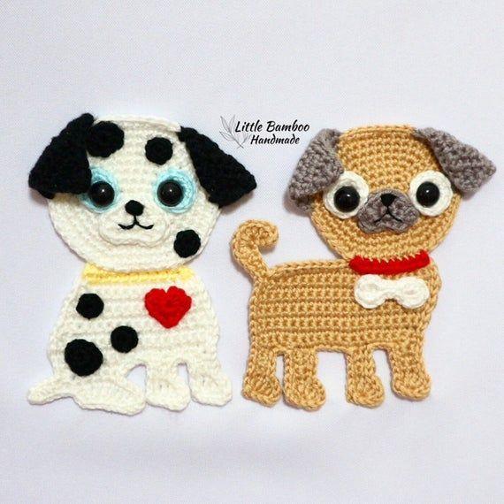 PATTERN-Dalmation and Pug Applique-Crochet Pattern, pdf