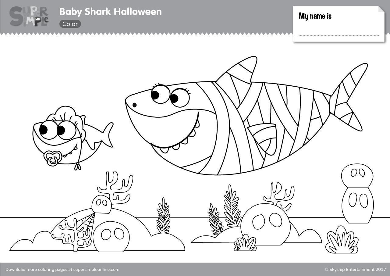 42 Coloring Page Baby Shark Shark Coloring Pages Halloween Coloring Pages Halloween Coloring