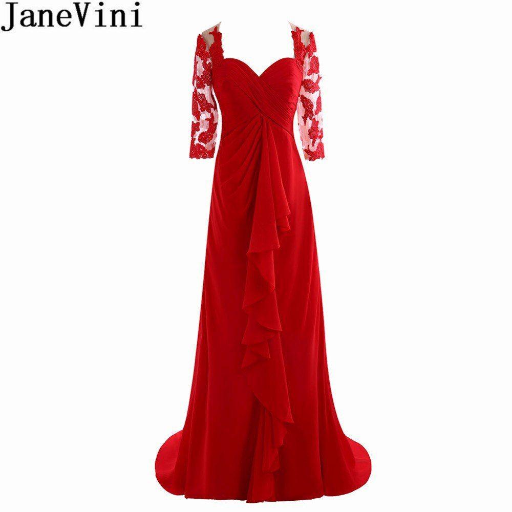 Simple Wedding Dress For Godmother: JaneVini Elegant Red Mother Of The Bride Dresses Half