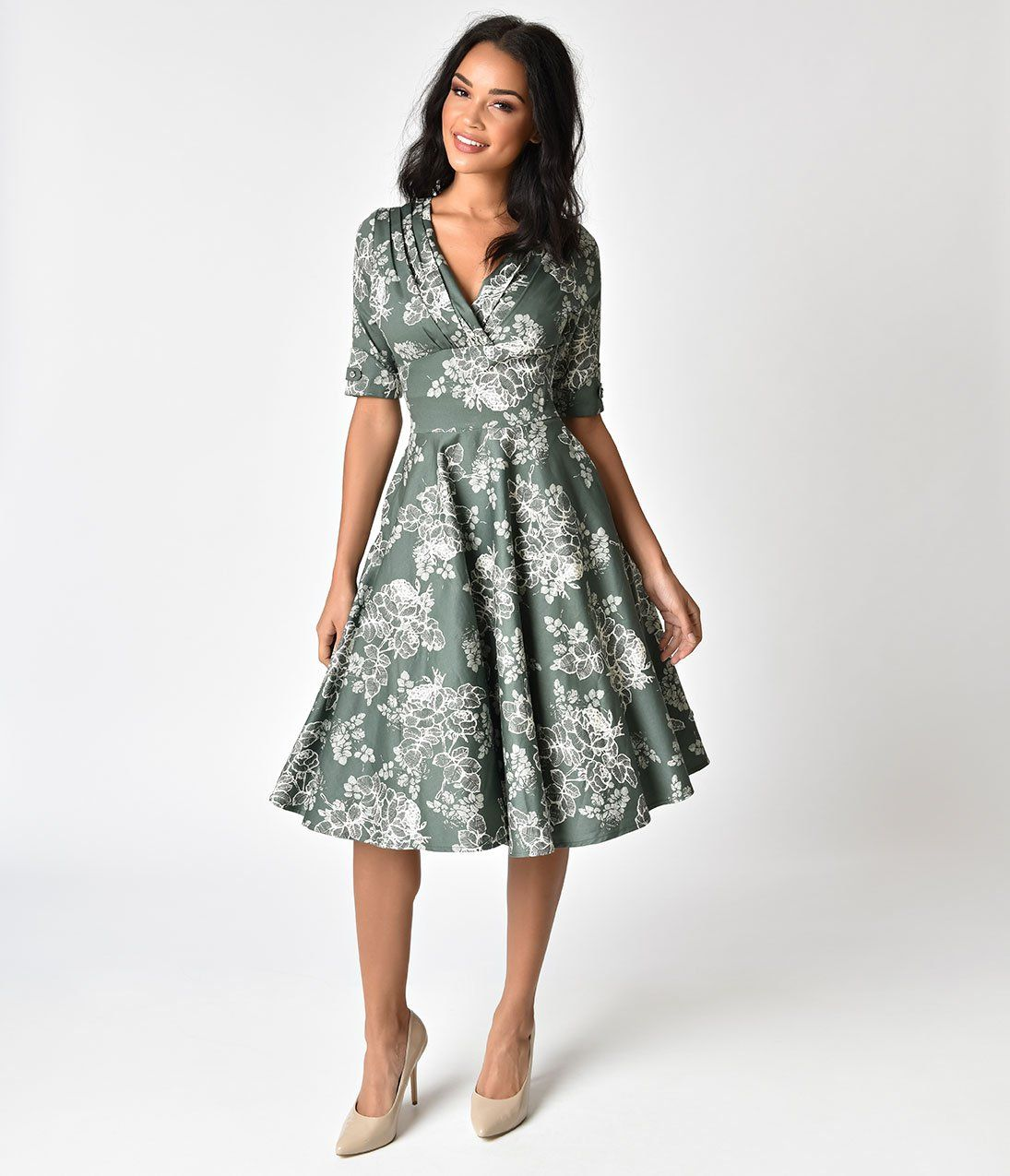 1950s Sage Green Floral Delores Swing Dress with Sleeves