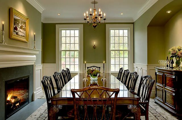 Traditional Dining Room With Olive Green Walls
