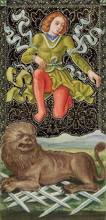 Ten of Swords - Golden Tarot of Renaissance par Giordano Berti & Jo Dworkin