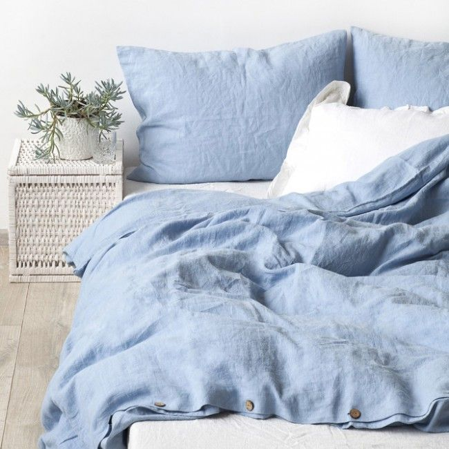 Sky Blue Stone Washed Linen Bed Set Bed Linen Sets Blue Linen