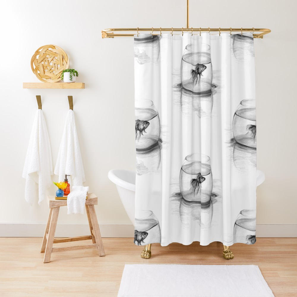 Just One Wish Goldfish In A Bowl Pencil Drawing Shower Curtain