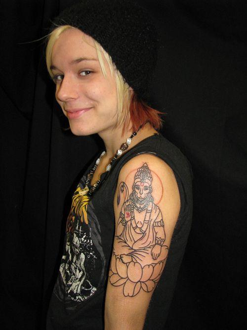 Hanuman Sleeve Tattoo Grey Ink Lord Hanuman ...