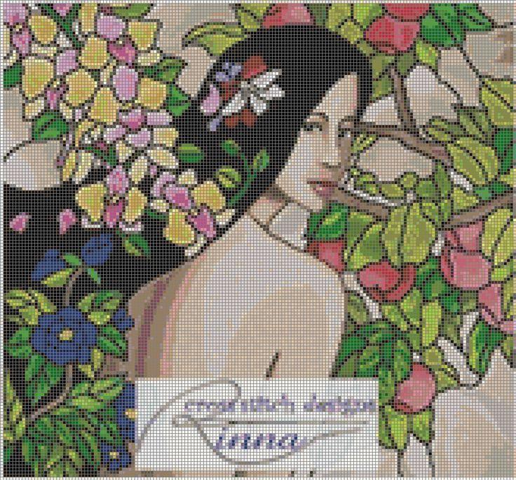 0 point de croix femme et fleurs - cross stitch girl and flowers