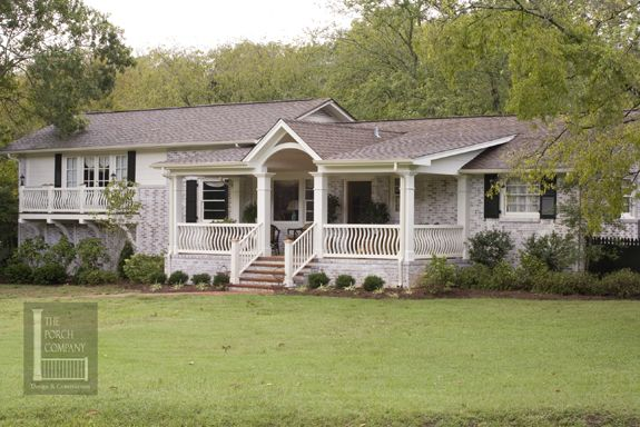 The porch company nashville white painted brick ranch for Brick ranch home additions