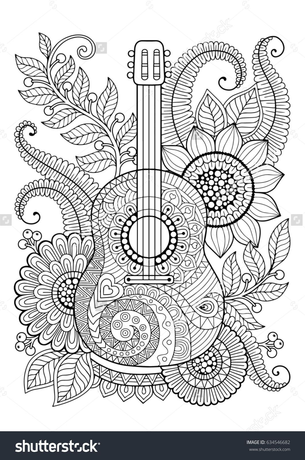 Coloring page for adult. Antistress and relax meditation