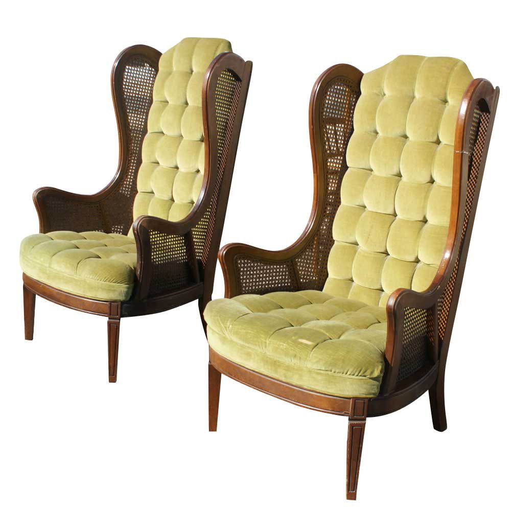 Antique wing chair - Cane Wing Chair Details About Pair Vintage Lewittes Cane Velvet Wingback Chairs