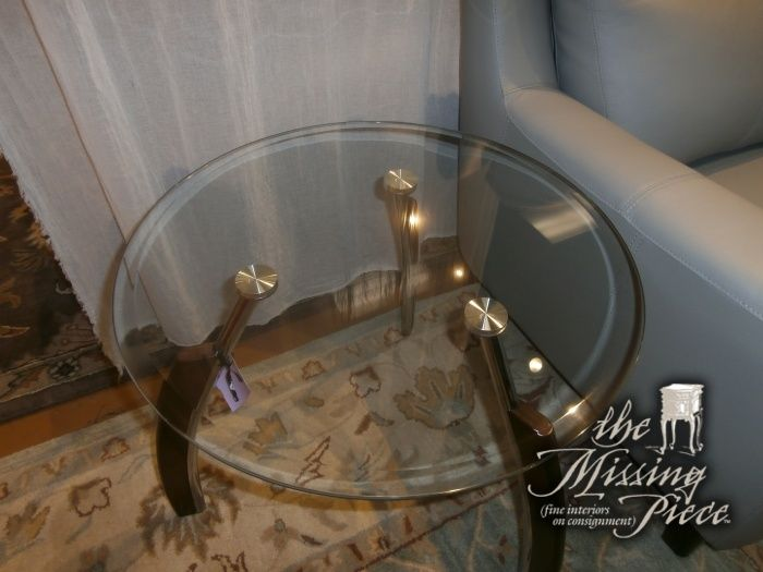Contemporary Glass Side Or End Table With Curved Wood Legs And Metal Accents Measures 23 23 22