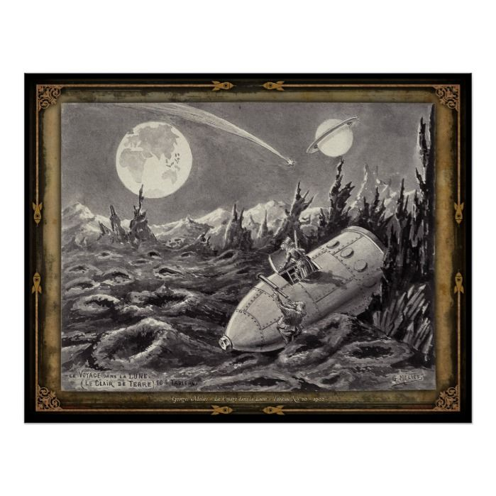 Drawn by the great Georges Mlis himself for his production of the early classic film Le Voyage dans la Lune (Voyage to the Moon) this is one of a series of four posters depicting the paintings he used as story boards for the production c. 1902.