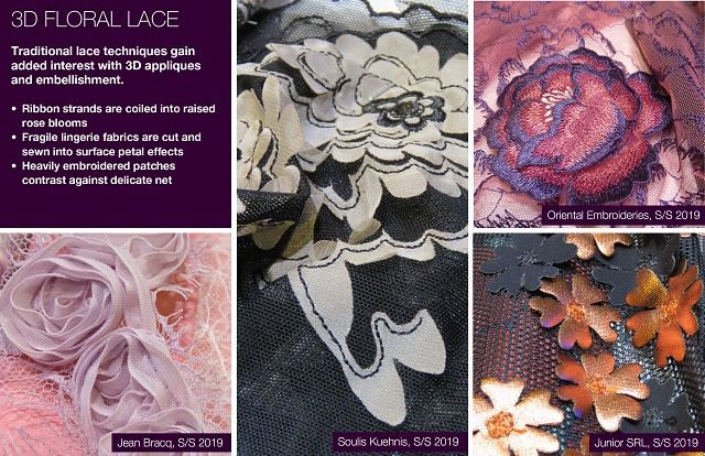S/S 2019 pattern fabric trends: 3D Floral Lace   Fashion ...