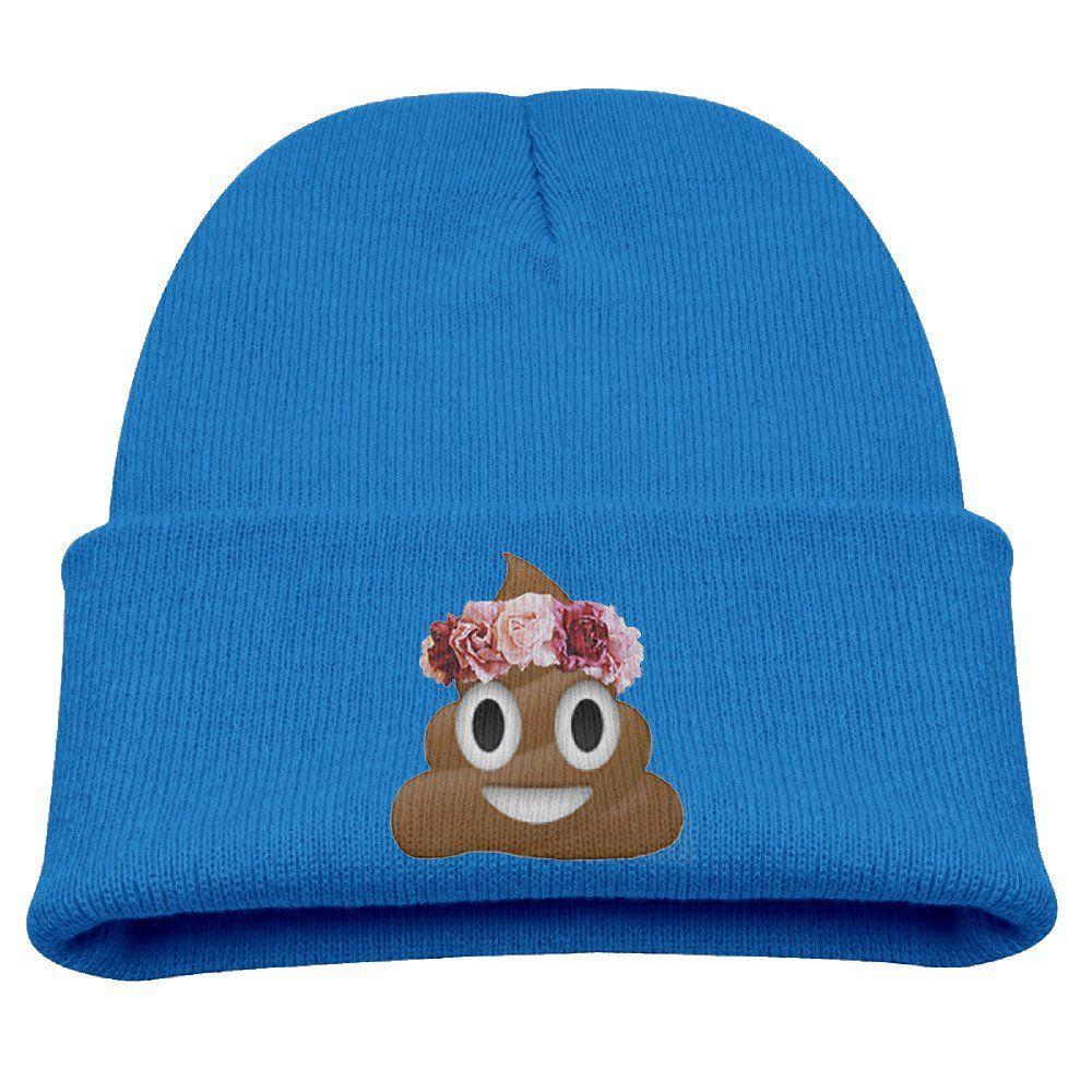 de4f08a80053d Flower Crown Poop Emoji Unisex Kids Warm Winter Hat Knit Beanie Skull Cap  Cuff Beanie Hat