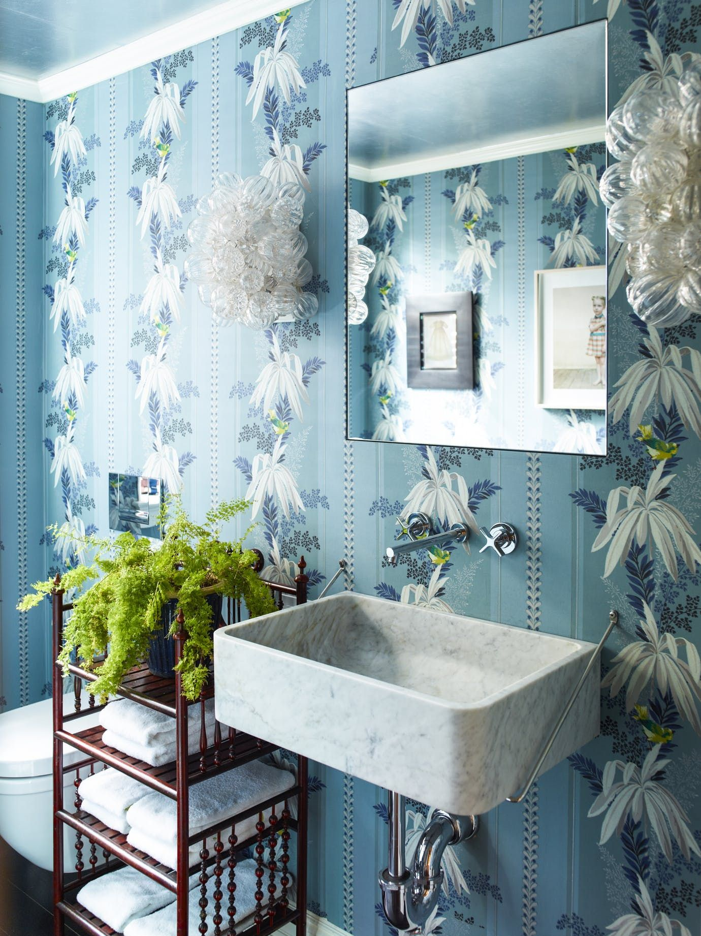 Powder Room With Blue, Floral Wallpaper Bath Modern Eclectic By