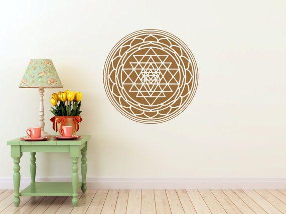 f35cfe923 Sri Yantra mandala vinyl Wall DECAL-seed Sacred geometry, sticker art, home  decor, rainbow Holograph
