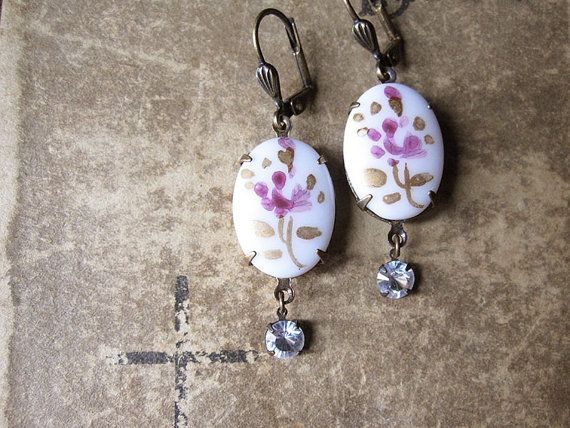 Floral Assemblage Earrings / Vintage Repurposed by hollyglimmer
