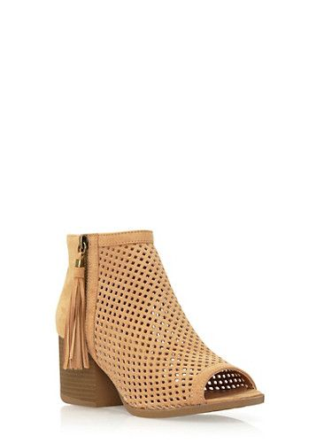 Peep-Toe Ankle Boots in Perforated Faux Suede,TOFFEE