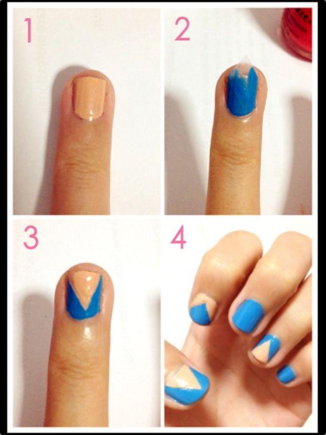 Easy colorblock chevron nails tutorial | Hair, Nails, & Makeup ...