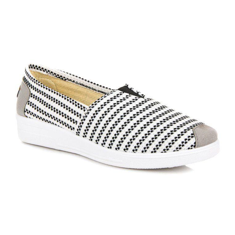 Wsuwane Trampki W Paski Czarne Biale Slip On Sneaker Sneakers Shoes