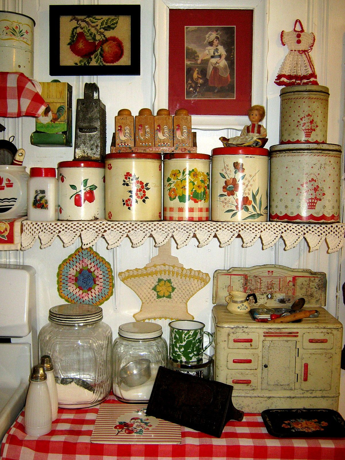 kitchen decor collections nice canister collection in this very cute red and white kitchen vintage collections 3742