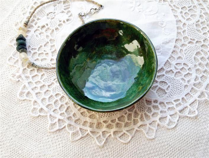 grüne Keramik Schale, Schmuck Schale, Juwelen Aufbewahrung, Snack Schale, Kerzen…