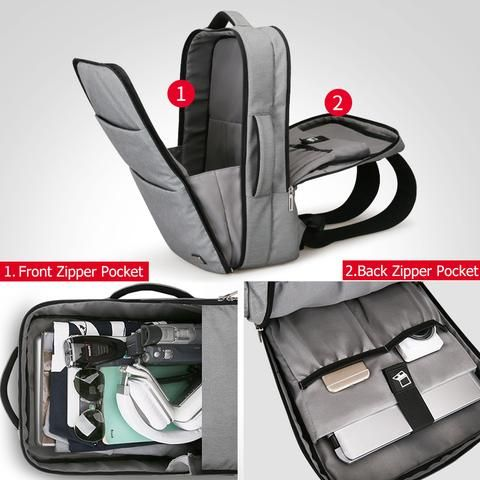 6f98819ad332 Waterproof USB Recharge 15 17 inch Laptop Backpack - Black