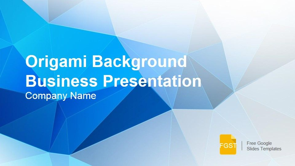 The Origami Background Business Presentation is a formal Google