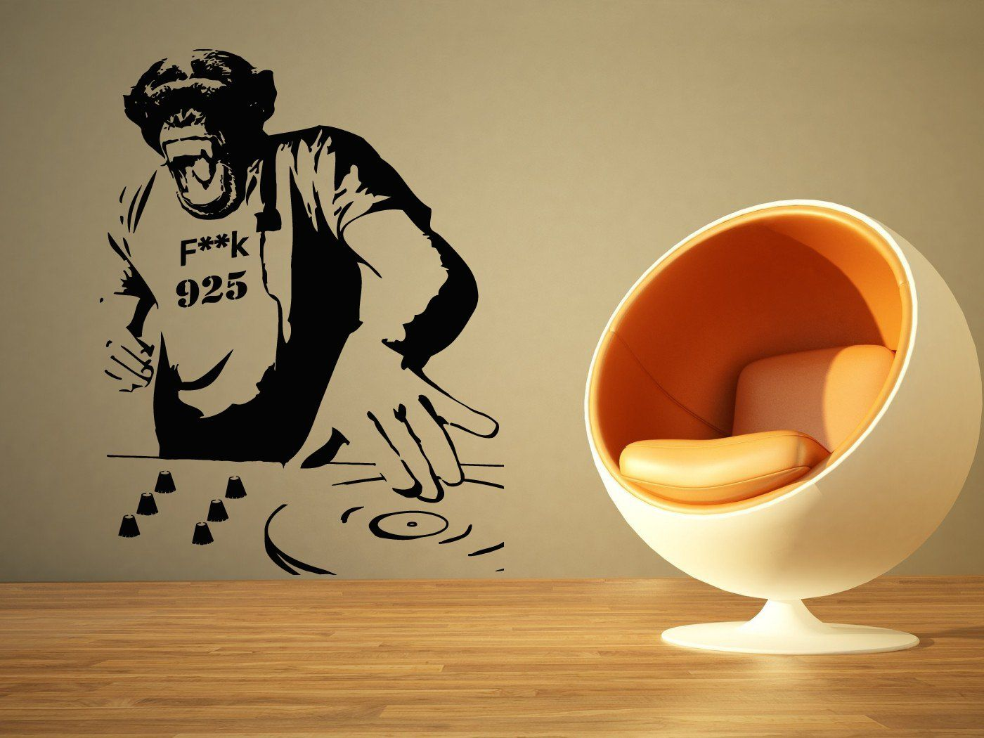 Wall Room Decor Art Vinyl Sticker Mural Decal Chimp Dj Monkey Edm ...