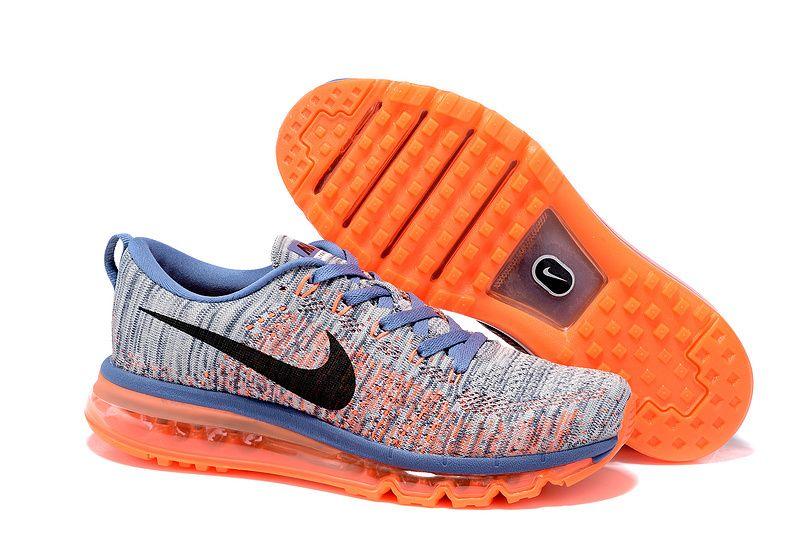 d5f3f754e98e Nike Air Max Flyknit Blue Grey Orange