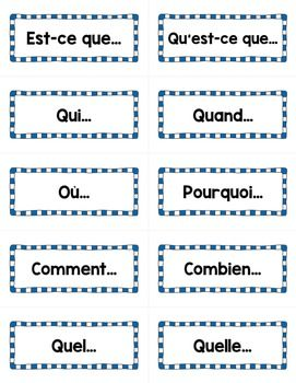 les mots interrogatifs french interrogatives word wall cards. Black Bedroom Furniture Sets. Home Design Ideas