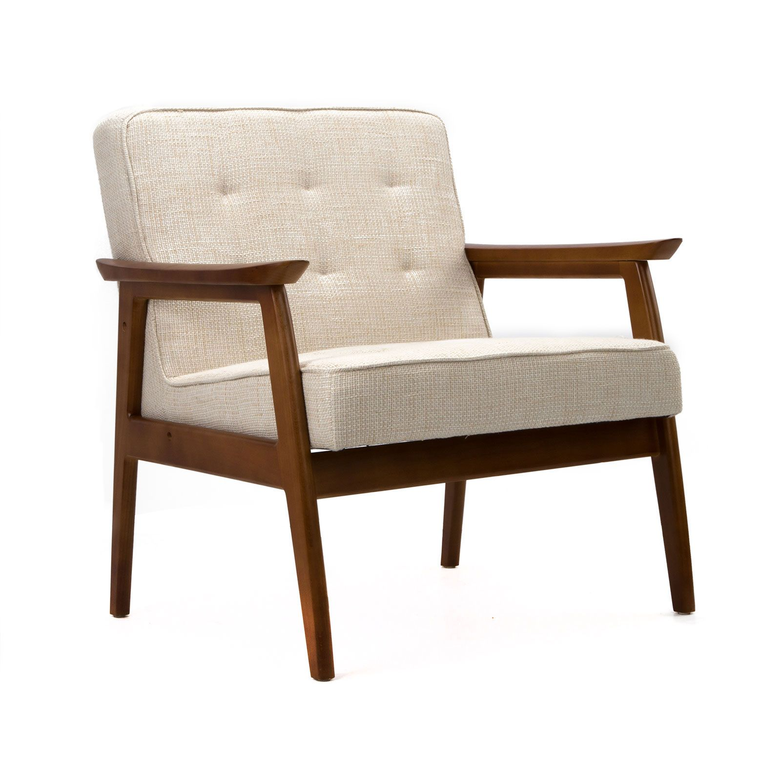 MidCentury Walnut Lounge Chair in Cream