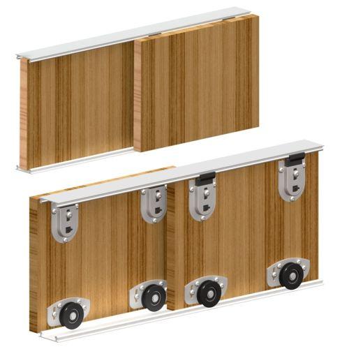 photo Système porte coulissante ARES 2 pour 2 portes de placard