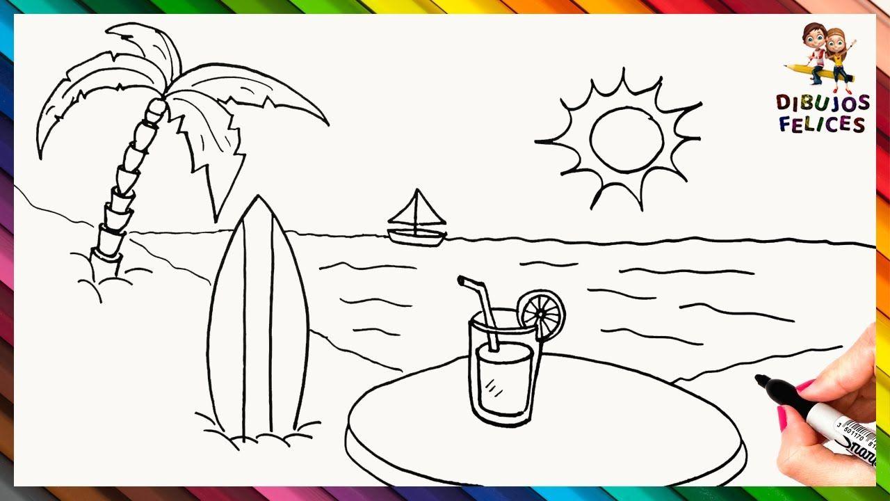 Como Dibujar Una Playa Paso A Paso Dibujo De La Playa Como Dibujar Una Playa Playa Para Dibujar Playa Dibujo