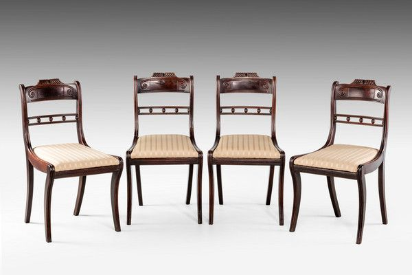 Set Of Four Regency Period Mahogany Single Chairs (Ref No. 7123)   Windsor