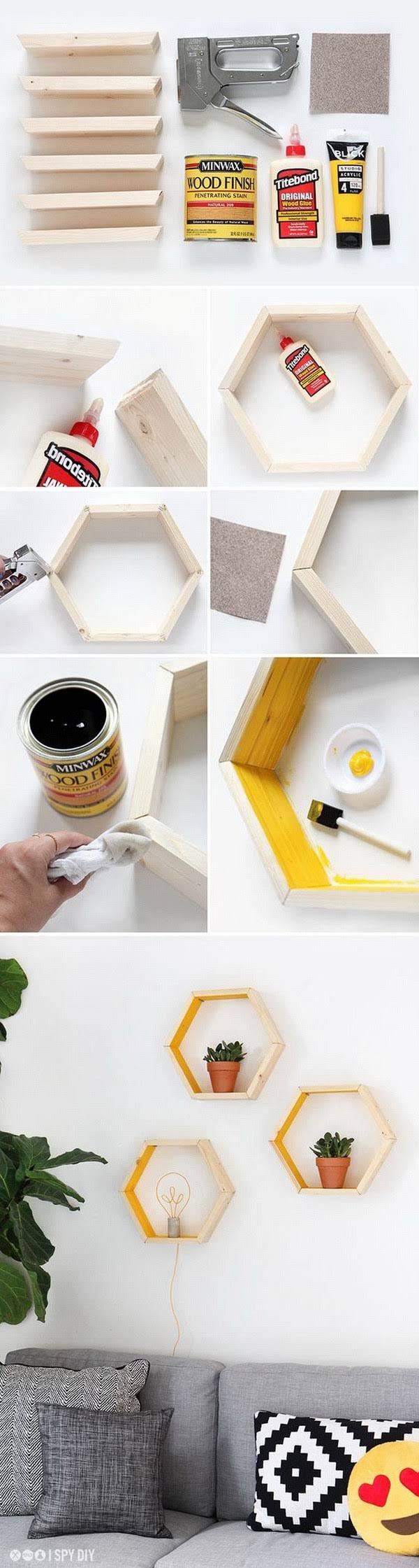 DIY Hexagonal Shelves. A Hexagon Is A Six Sided Shape That Is Well Suited