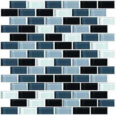 Fantastic value blend of grey, black and white brick glass mosaic ...