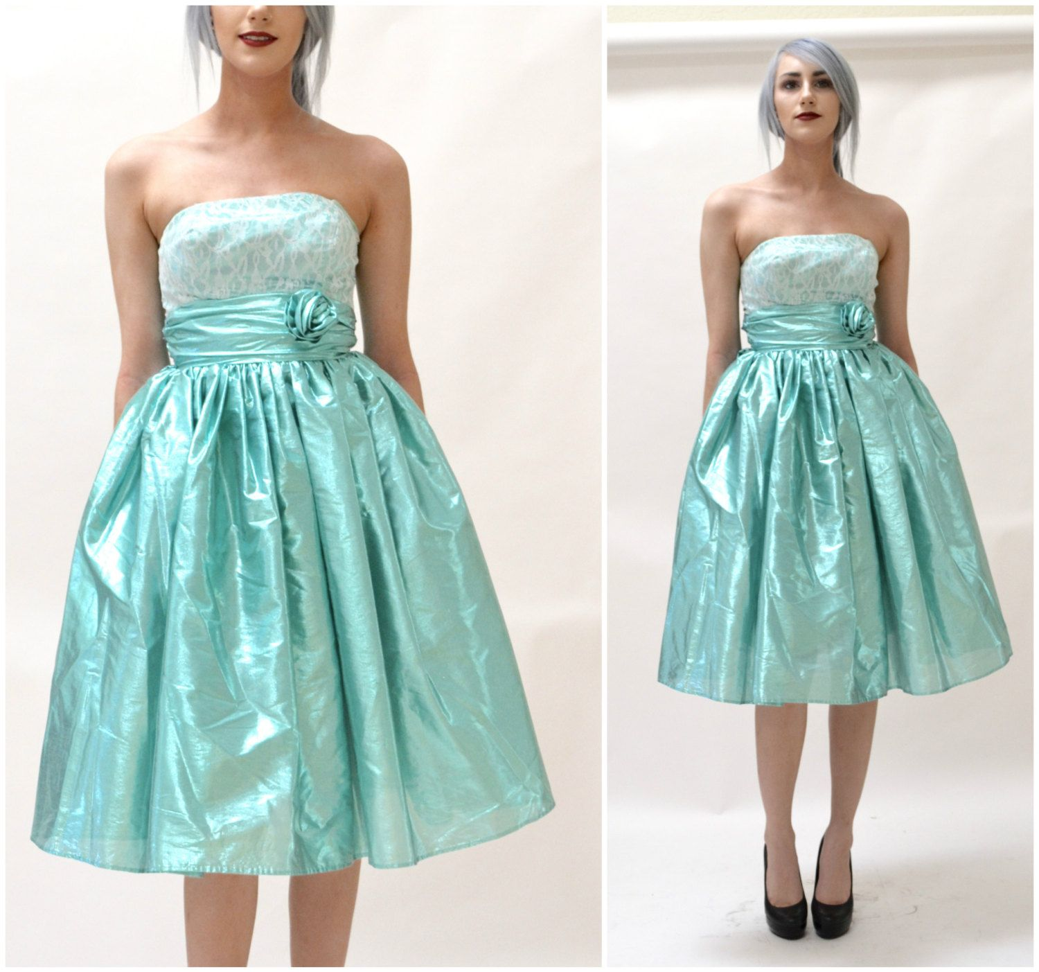 80s Metallic Prom Dress Size XXS X Small Blue Aqua// Vintage ...