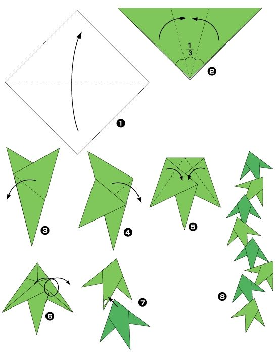 diagramme d 39 origami de guirlande de feuilles papiers pinterest guirlande de feuilles. Black Bedroom Furniture Sets. Home Design Ideas