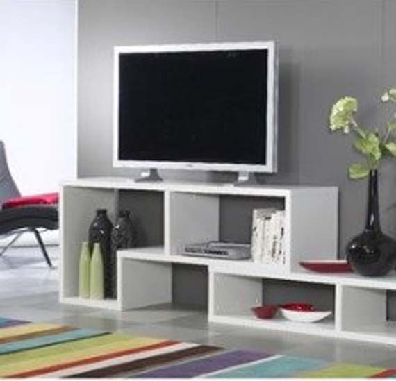 Modern white tv stand design ideas with grey wall paint for Table tv design