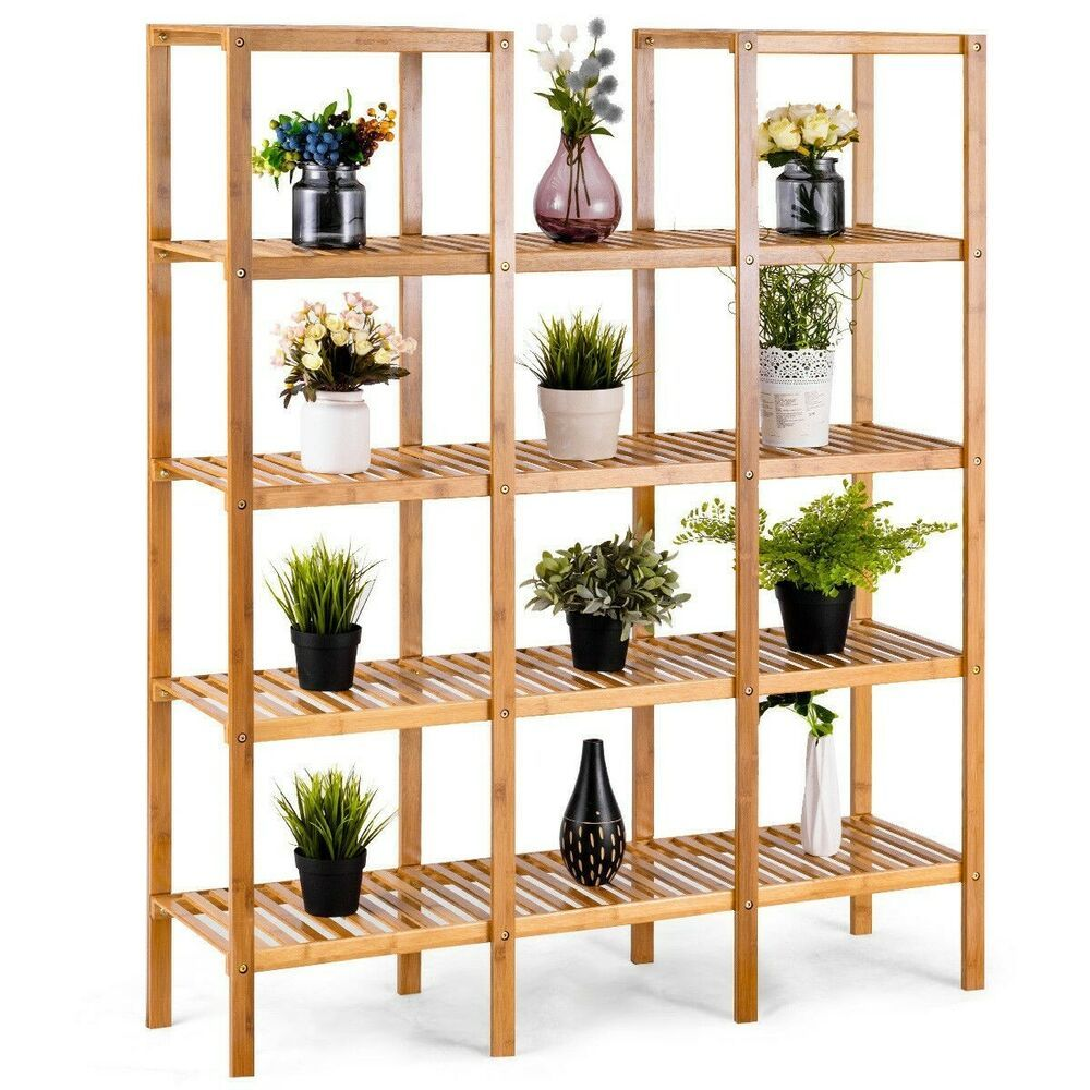 Wood Plant Stand 14 Shelves Storage Display Flower Pot Brown 5 Tiers Patio Shelf Shoppingray In 2019 Bamboo Shelf Wood Plant Stand Shelves