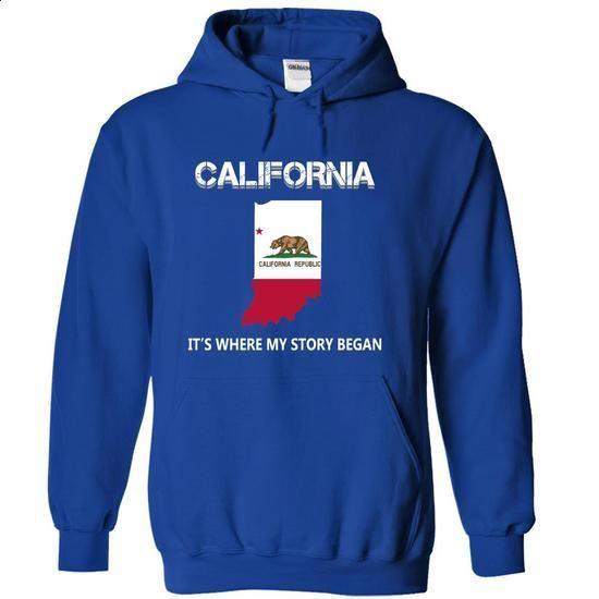 California - Its Where My Story Began (Indiana) - #tee pattern #statement tee. PURCHASE NOW => https://www.sunfrog.com/States/California--Its-Where-My-Story-Began-Indiana-vpshhympti-RoyalBlue-7413519-Hoodie.html?68278