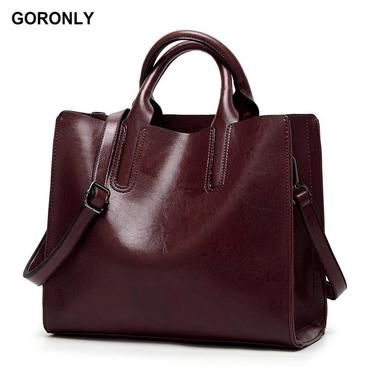 GORONLY Brand High Quality Leather Tote Bag Women Handbag Designer Shoulder  Bags Fashion Ladies Crossbody Bag Large Bolsos Mujer 63a0eb4182