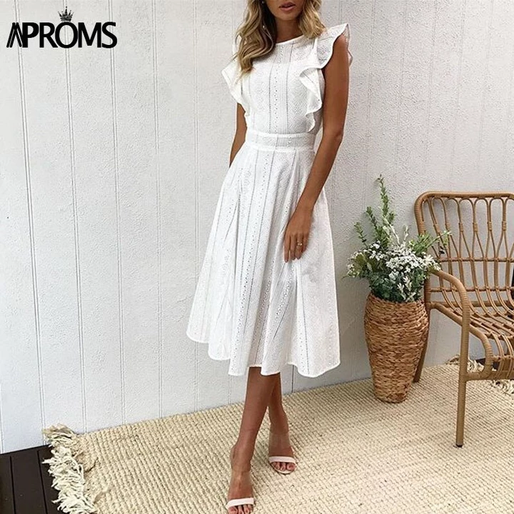 Elegant Ruffle White Lace Hollow Out Dress Women Party Dresses -   16 dress Modest white ideas