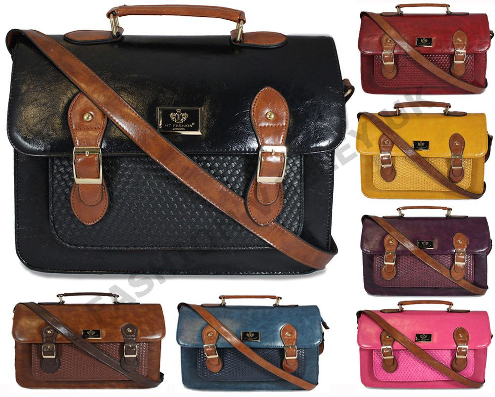 Womens ladies designer leather style briefcase laptop satchel ...