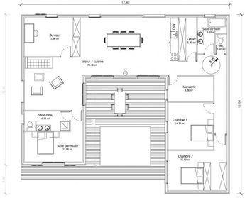 maison en u avec patio - Plan Maison Ideale Feng Shui