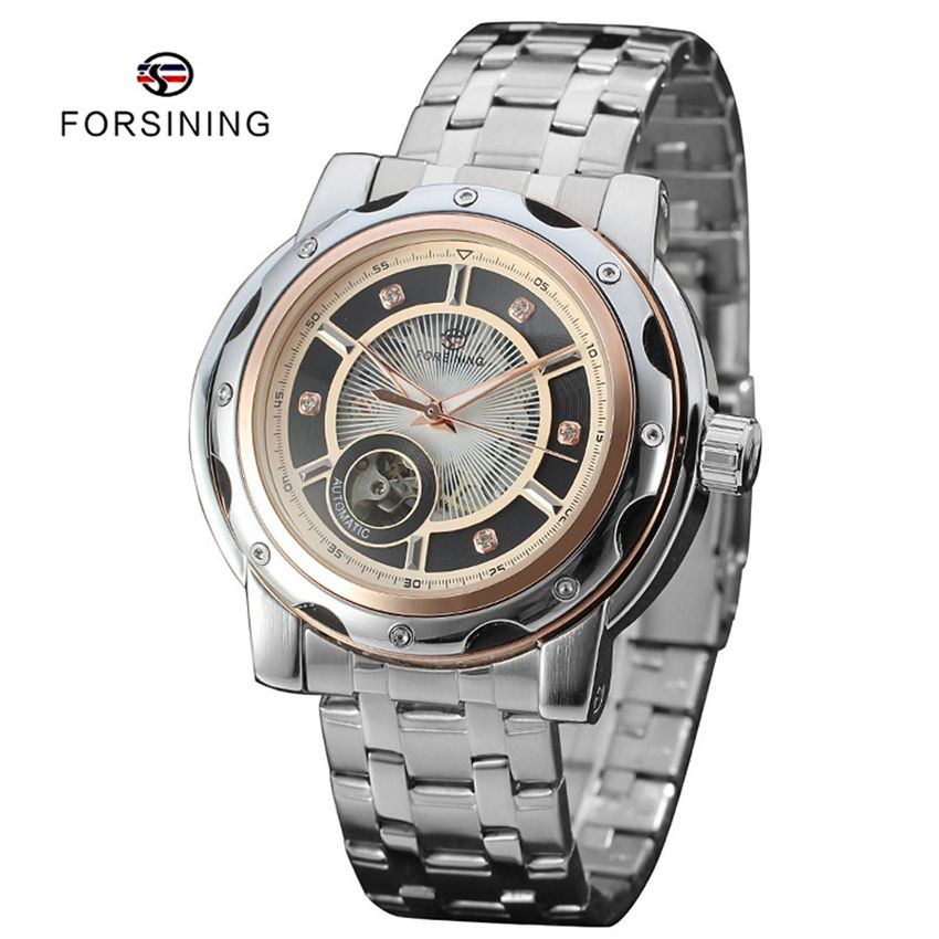 Find More Sports Watches Information about 2 Colors FORSINING Automatic Mechanical Skeleton Steel Mens Sport Watch Luxury Brand Men Clocks relojes hombre relogio masculino,High Quality watch clock,China clock phone Suppliers, Cheap watch compass altimeter thermometer from YIKOO fashion watches on Aliexpress.com